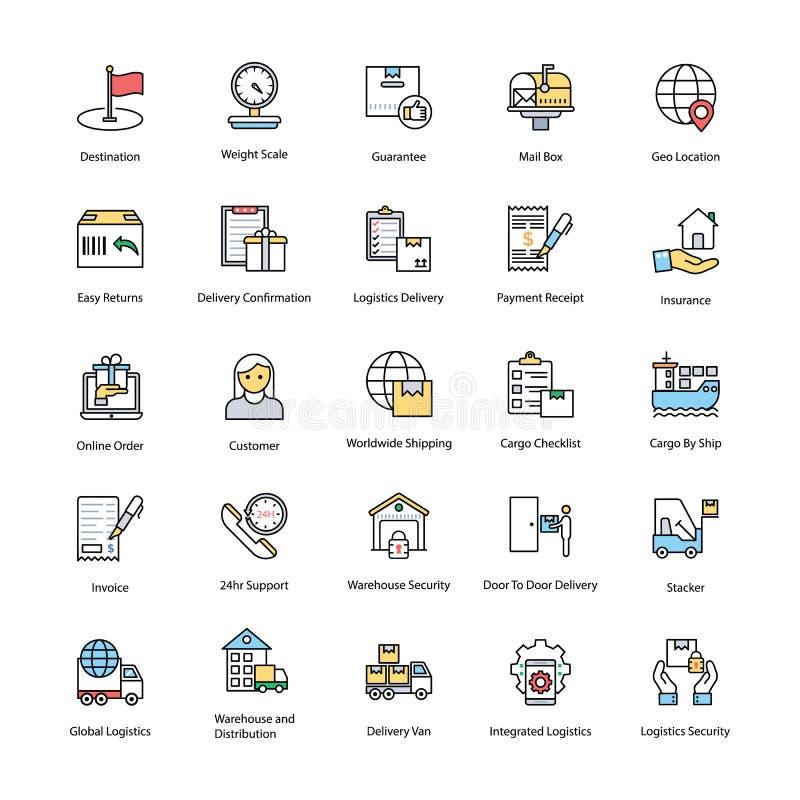 Symboler för logistikleveranslägenhet royaltyfri illustrationer