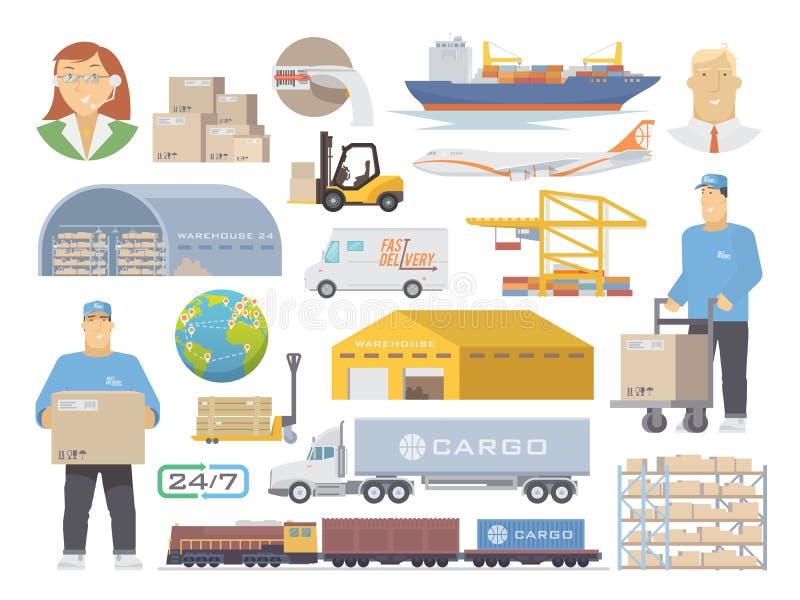 Symboler för logistikvektorlägenhet arkivfoto