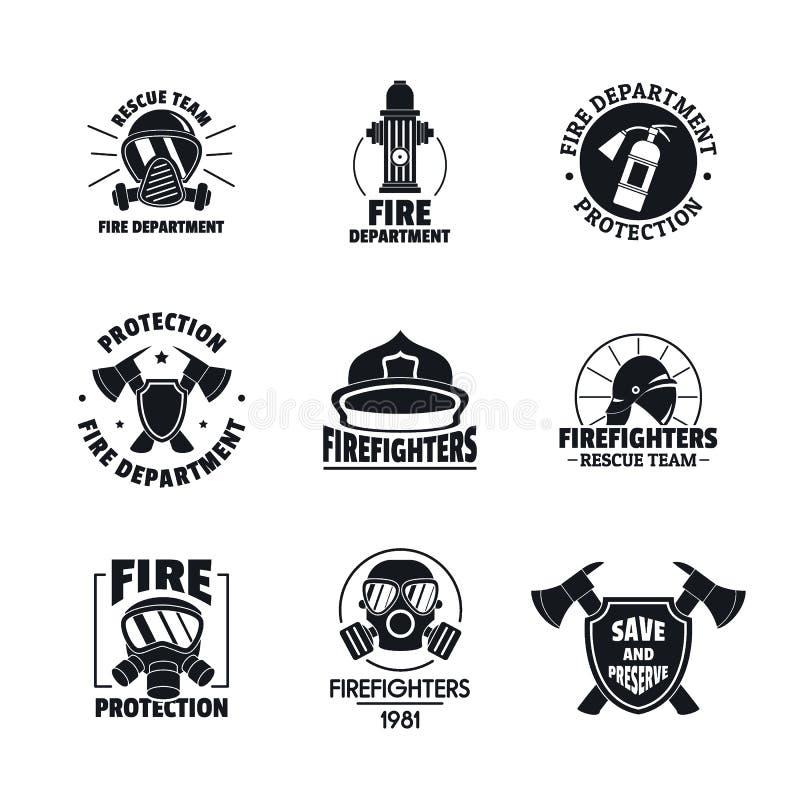 Symboler för logo för brandkämpe ställde in, plan stil stock illustrationer