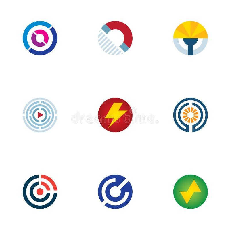 Symboler för logo för vetenskap för våg för signal för cirkel för teknologimaktabstrakt begrepp ställde in royaltyfri illustrationer