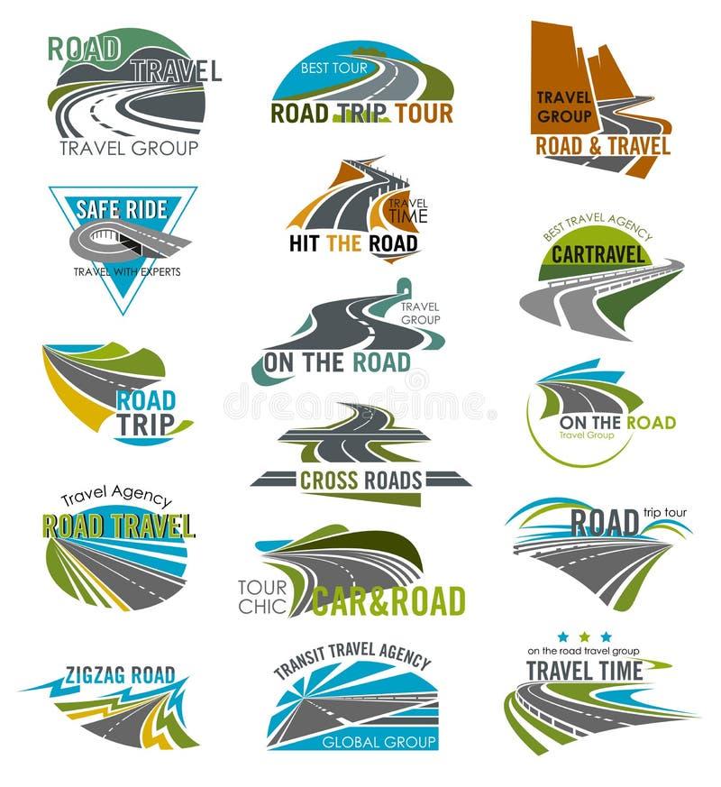 Symboler för lopp- eller turismbyråvektorväg ställde in vektor illustrationer