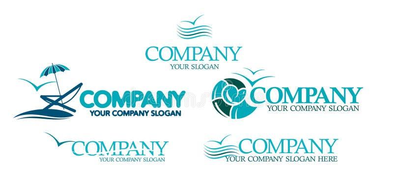 Symboler för lopp och maritima firmor. stock illustrationer