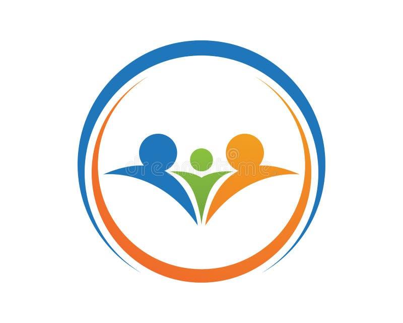 Symboler för mall för logo för liv för familjomsorgframgång vård- stock illustrationer