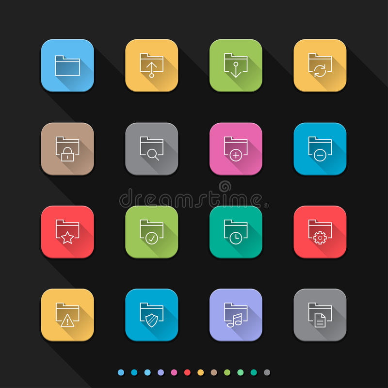 Symboler för mapplägenhetstil ställde in - vektorillustrationen för rengöringsduk & mobil vektor illustrationer