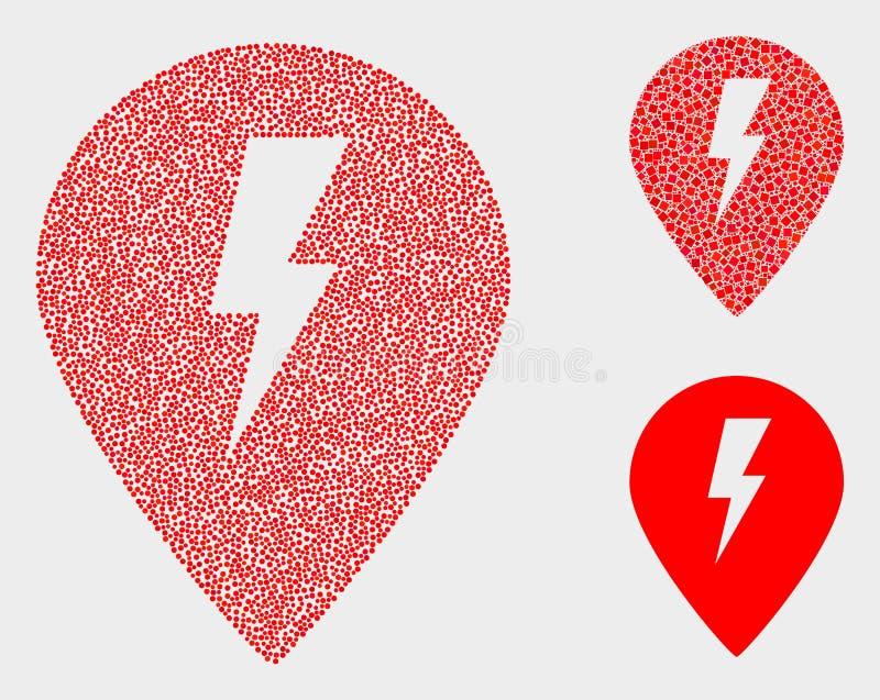 Symboler för markör för översikt för Pixelated vektor elektriska royaltyfri illustrationer