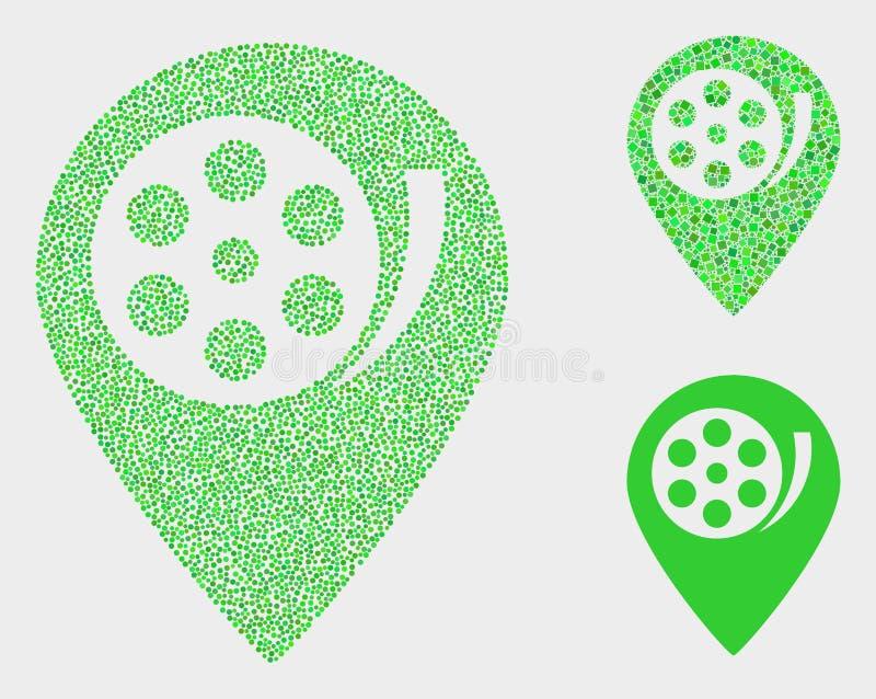 Symboler för markör för översikt för Pixelated vektorfilm vektor illustrationer