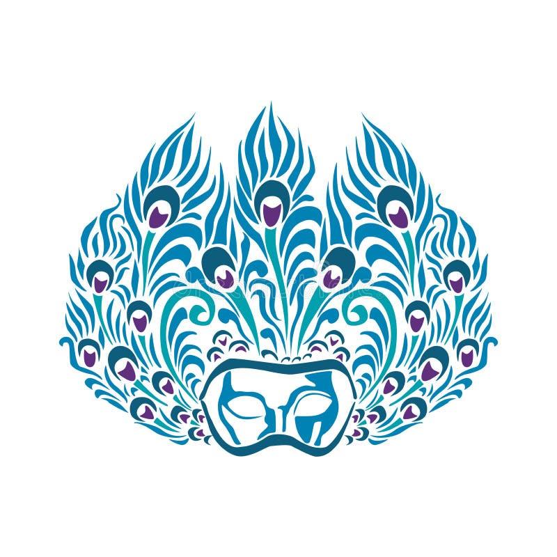 Symboler för maskeringspåfågelfjäder stock illustrationer