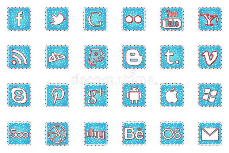 Symboler för massmedia för vinterferier sociala arkivbild