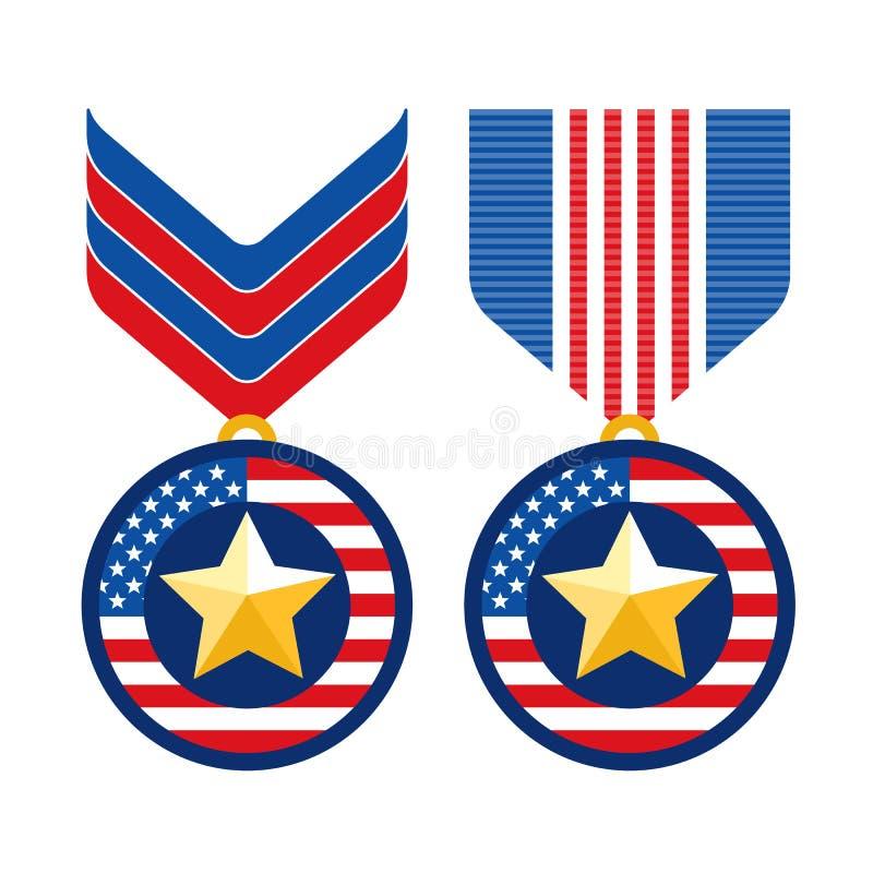 Symboler för medaljer för lägenhet för veterandag vektor illustrationer