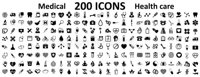 Symboler för Medecine och för hälsa för uppsättning 200 plana Symboler för tecken för samlingshälsovård medicinska - för materiel vektor illustrationer