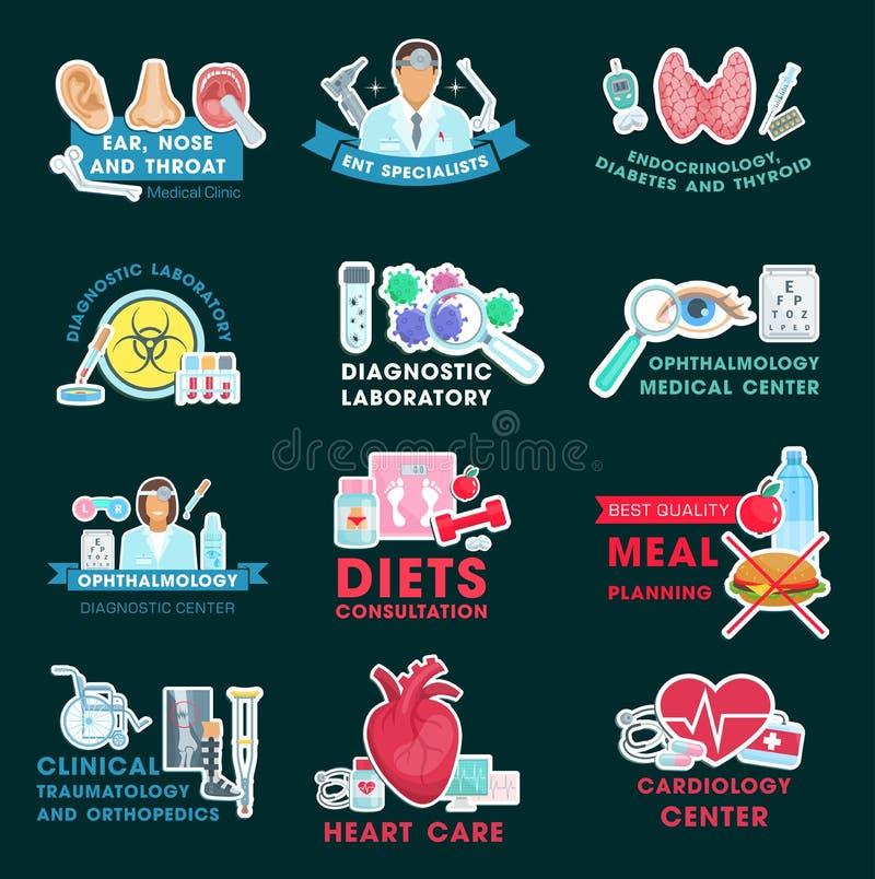 Symboler för medicinsk klinik med doktorer och mänskliga organ stock illustrationer