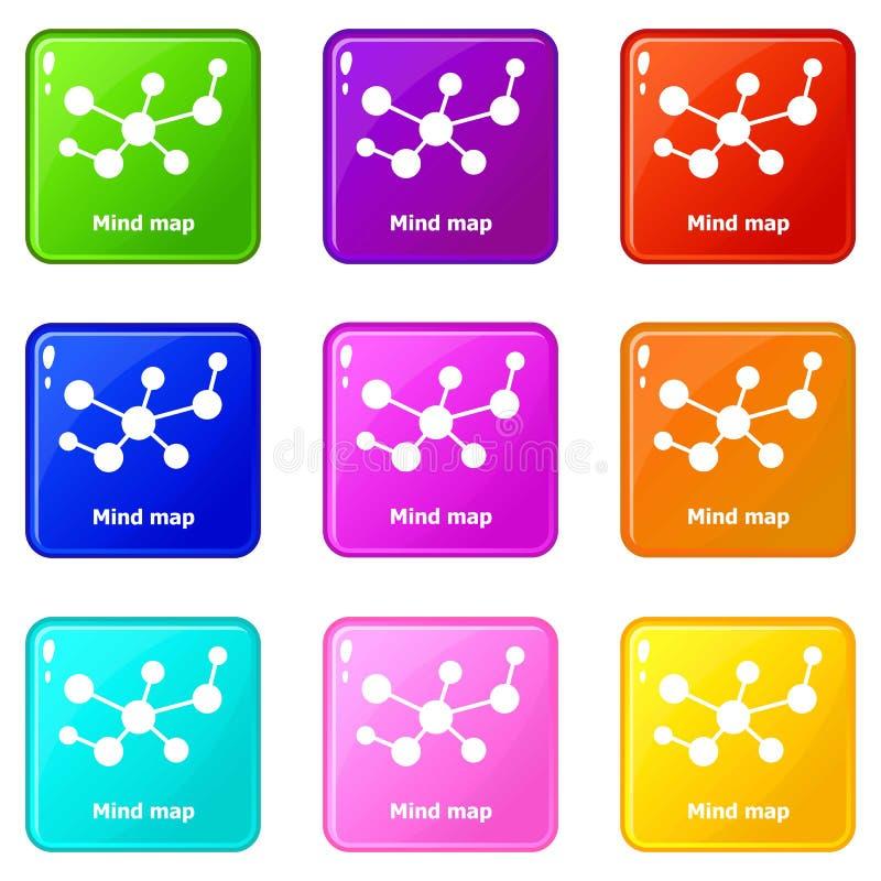 Symboler för meningsöversikt ställde in samlingen för 9 färg royaltyfri illustrationer