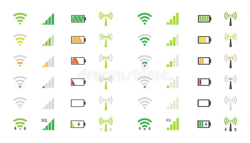 Symboler för mobiltelefonsystem, wifisignalstyrka, batteriladdningsnivå stock illustrationer