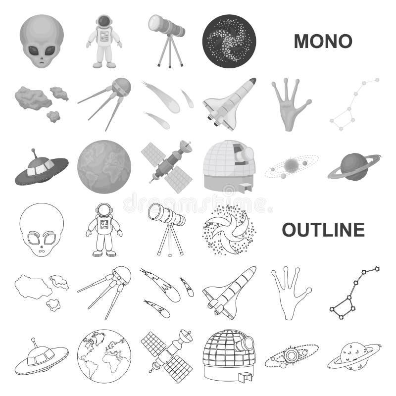 Symboler för monochrom för utrymmeteknologi i den fastställda samlingen för design Rengöringsduk för materiel för rymdskepp- och  stock illustrationer