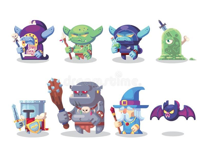 Symboler in för monster och för hjälte för tecken för fantasiRPG ställde modiga illustrationen royaltyfri illustrationer