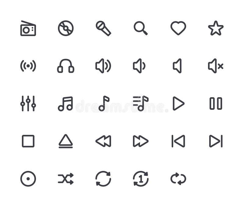 Symboler för musiköversiktsvektor vektor illustrationer