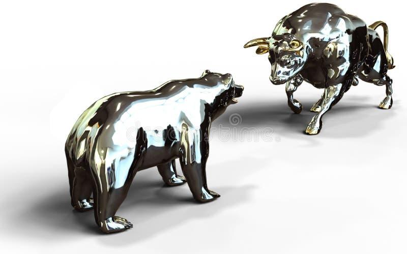 Symboler för nedgång för tjur- och björnaktiemarknadtillväxt royaltyfri illustrationer