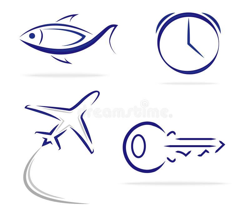 Symboler för nivå för fisktangentklocka arkivbilder