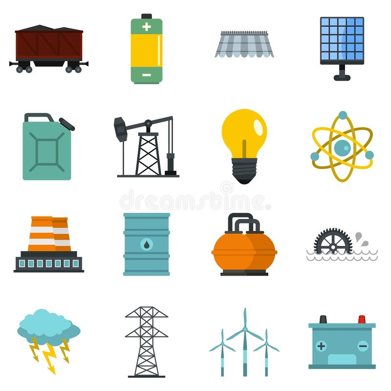 Symboler för objekt för energikällor ställde in i plan stil royaltyfri illustrationer