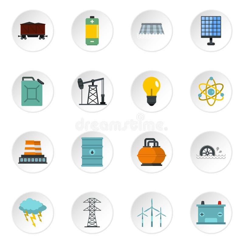 Symboler för objekt för energikällor ställde in i plan stil stock illustrationer