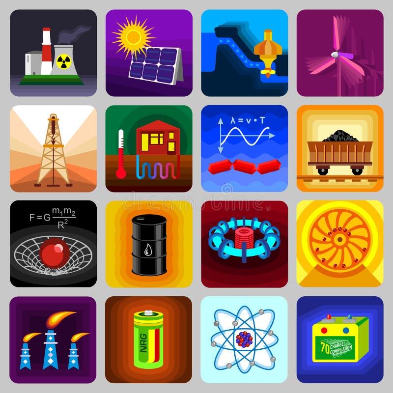 Symboler för objekt för energikällor ställde in, plan stil vektor illustrationer