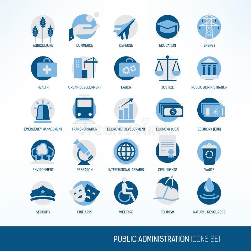 Symboler för offentlig administration stock illustrationer