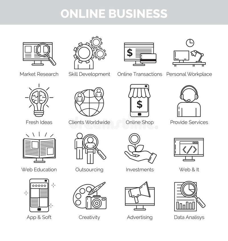 Symboler för online-affärsplanläggning, utveckling och speares vektor illustrationer