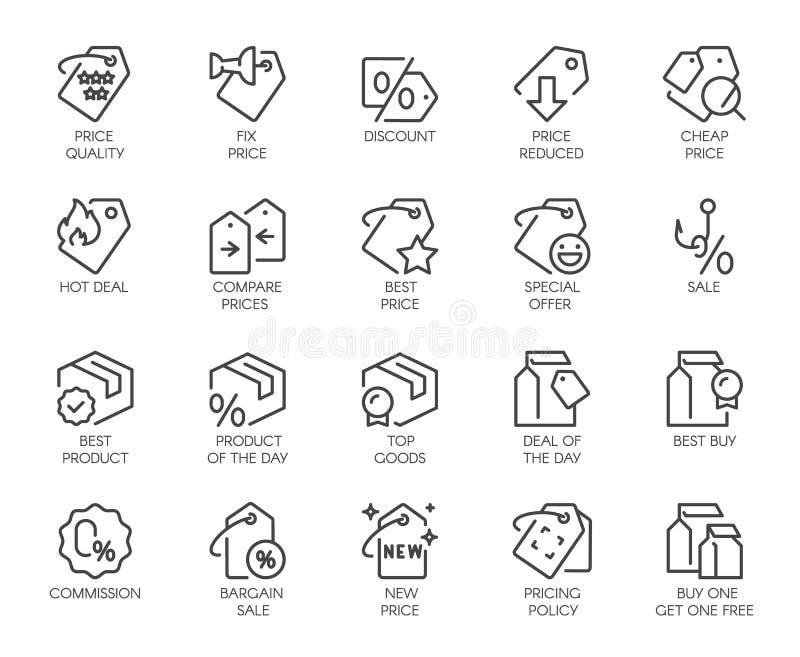 20 symboler för online- eller offline-diversehandel, shopping, bokningplatser och apps Logo för erbjudanden, kommers, svart freda royaltyfri illustrationer