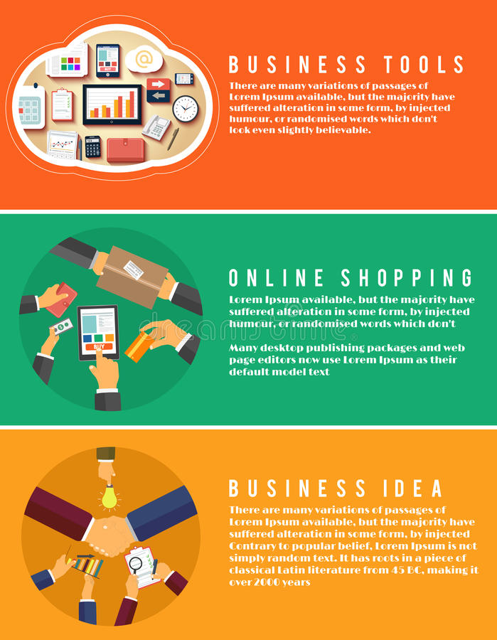 Symboler för online-shopping, idé, affärshjälpmedel stock illustrationer