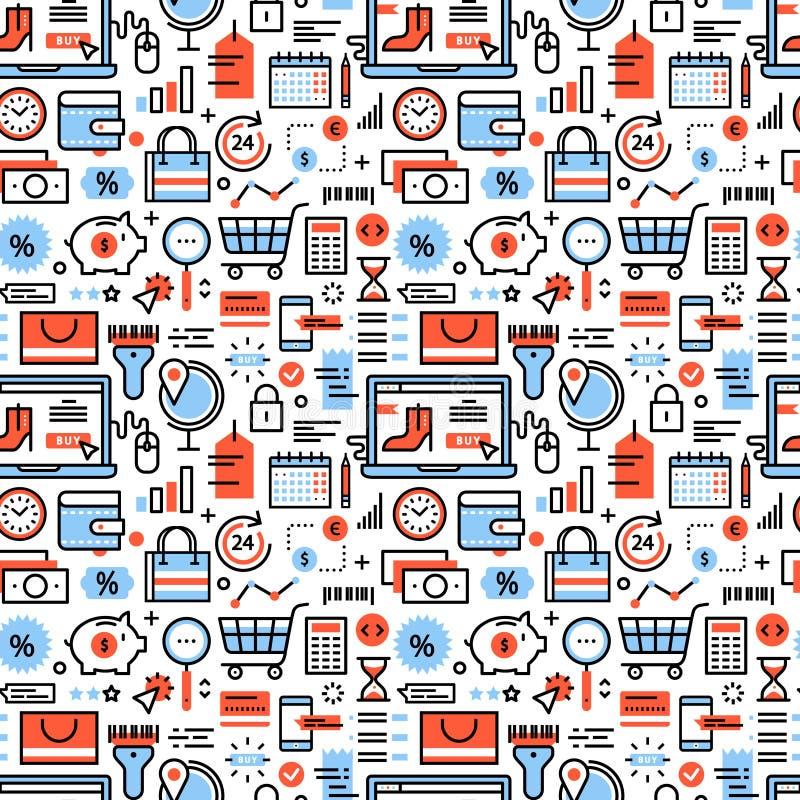 Symboler för online-shopping och för återförsäljnings- affär vektor illustrationer