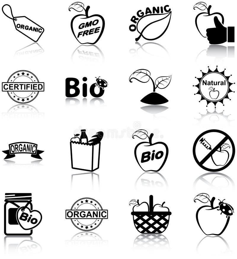 Symboler för organisk mat vektor illustrationer
