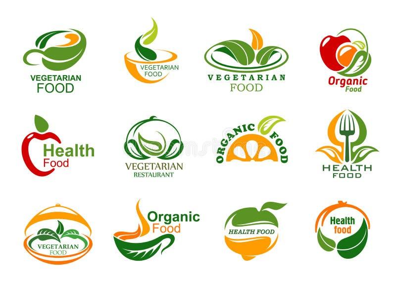 Symboler för organisk mat för vegetarian och för strikt vegetarian vektor illustrationer