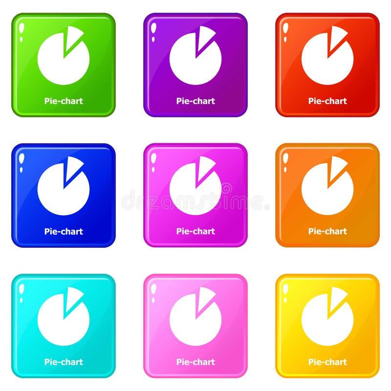 Symboler för pajdiagram ställde in samlingen för 9 färg vektor illustrationer