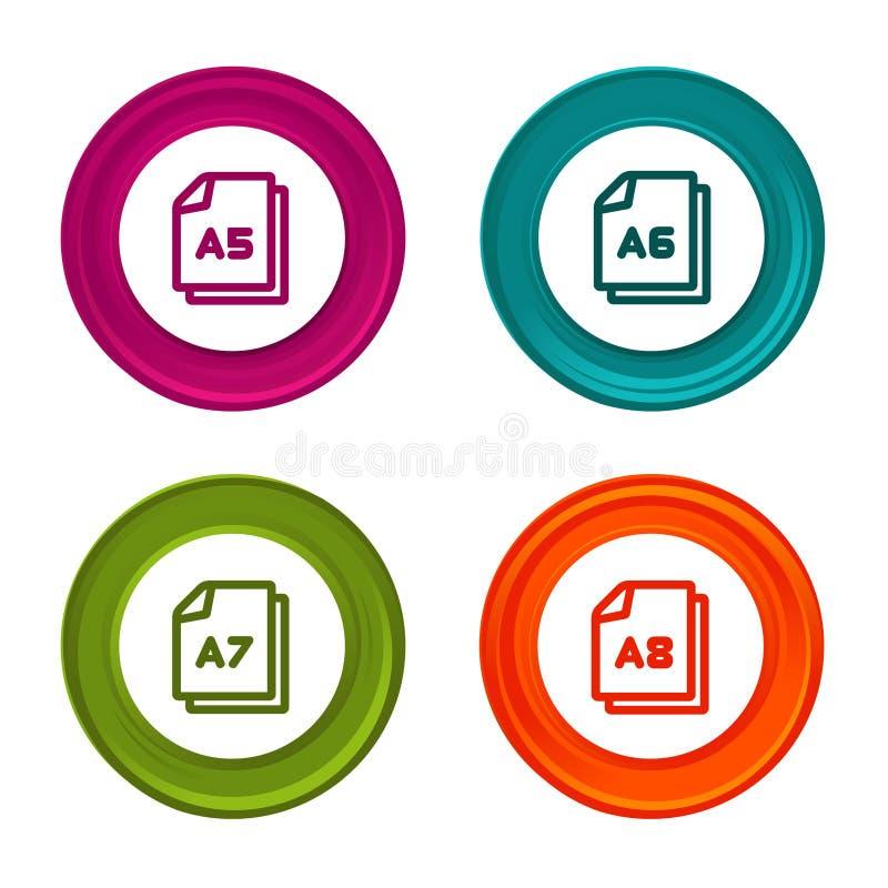 Symboler för pappers- format A5 A6 A7 A8 Dokumentsymbol Färgrik rengöringsdukknapp med symbolen royaltyfri illustrationer