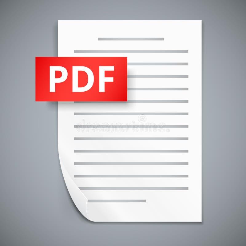 Symboler för PDF-pappersark stock illustrationer