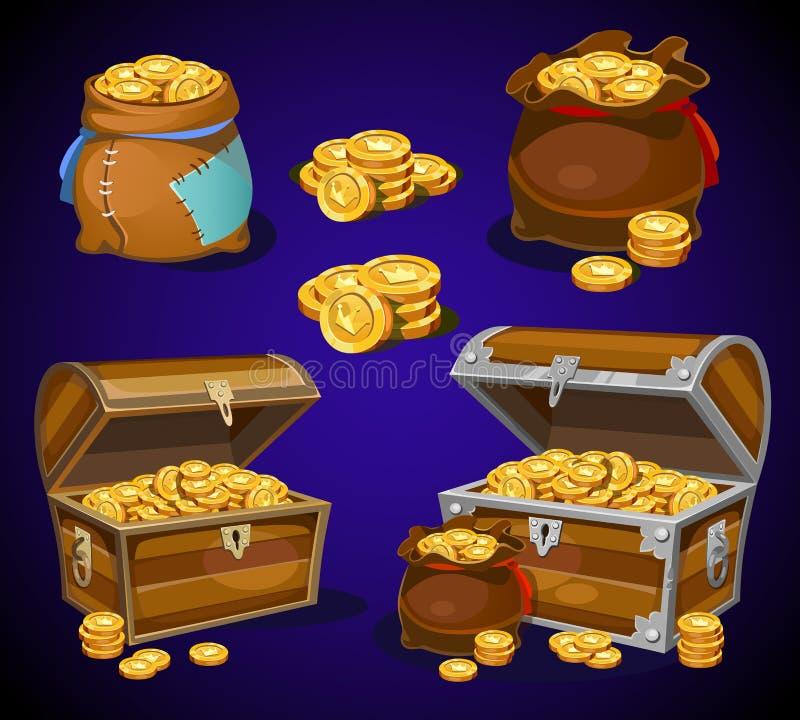 Symboler för pengar för kasino- och lektecknad film 3d Guld- mynt i moneybags stock illustrationer