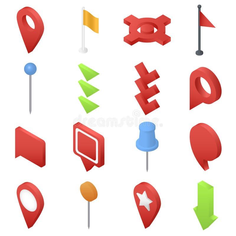 Symboler för pil för översiktspekarestift ställde in, isometrisk stil vektor illustrationer