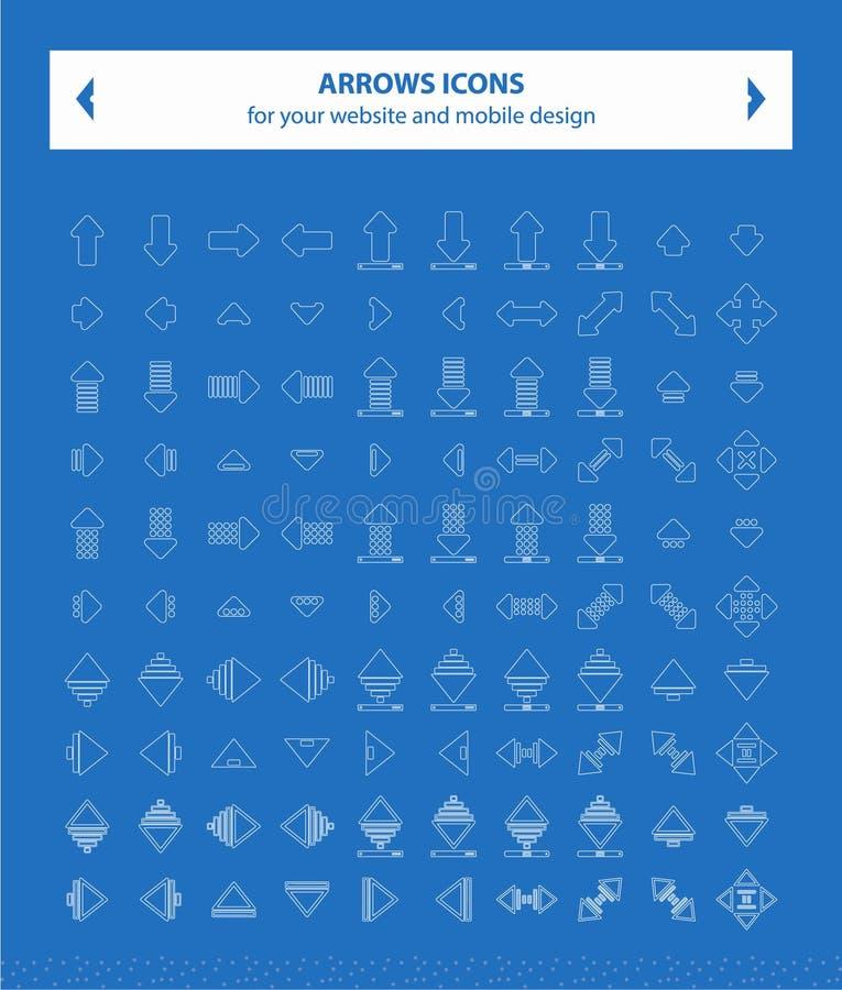 Symboler för pilvektorbild - vit royaltyfri fotografi