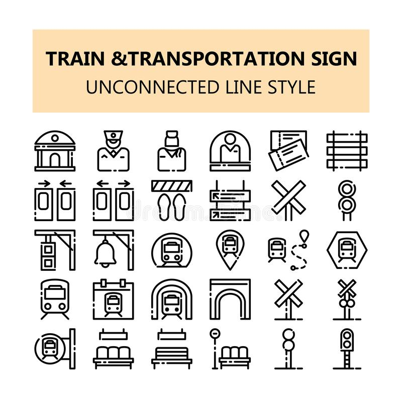 Symboler in för PIXEL för drevtrans.tecken ställde perfekta i den osammanhängande linjen stil för översikten stock illustrationer