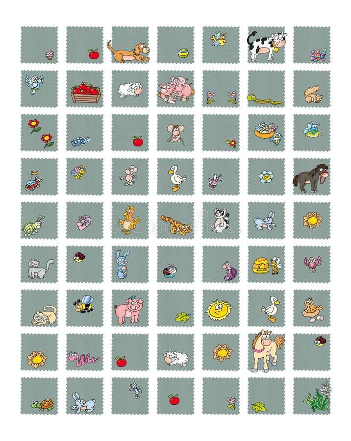 Symboler för platser och djur mat mjölka kon med biet för hönaägg med honungkanin, fåräpplesvin och fågelblommor stock illustrationer