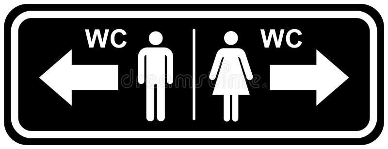 Symboler för platta för Wc-toalettdörr Man- och kvinnatecken f?r toalett svart vit färg för plana vektorillustrationsymboler royaltyfri illustrationer