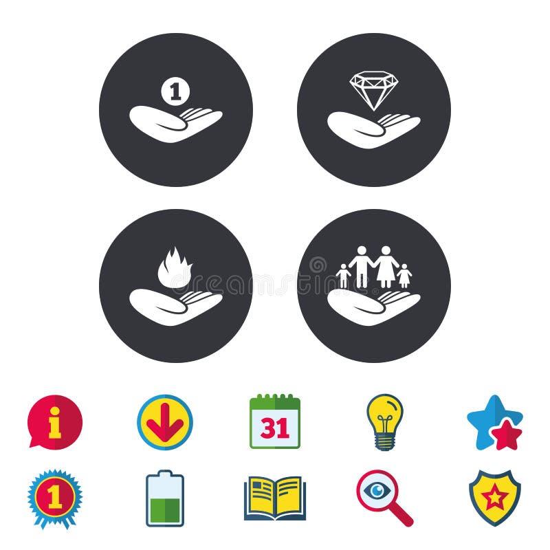 Symboler för portionhänder Skydd och försäkring stock illustrationer