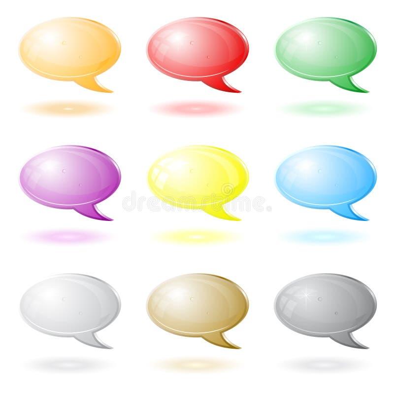 symboler för pratstund 3d royaltyfri illustrationer