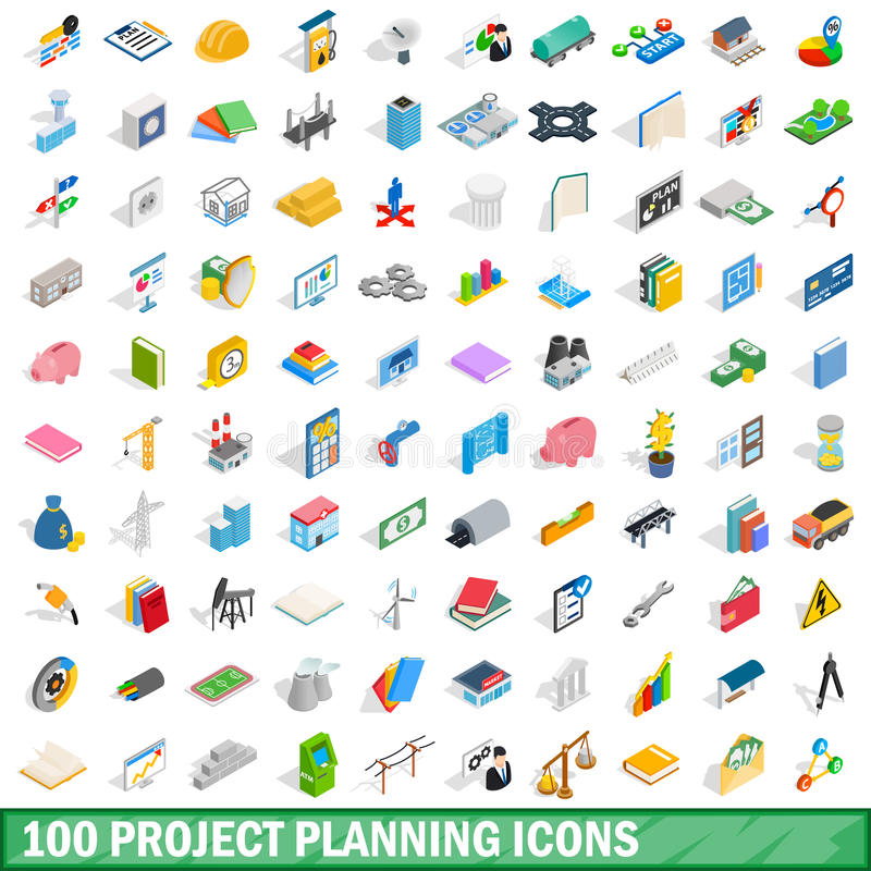 100 symboler för projektplanläggning ställde in, isometrisk stil 3d stock illustrationer
