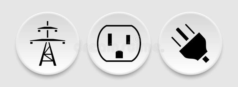 Symboler för propp för kraftledninghålighetuttag vektor illustrationer