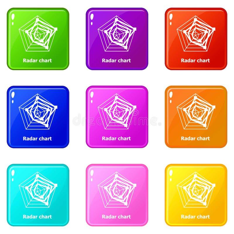 Symboler för radardiagram ställde in samlingen för 9 färg royaltyfri illustrationer