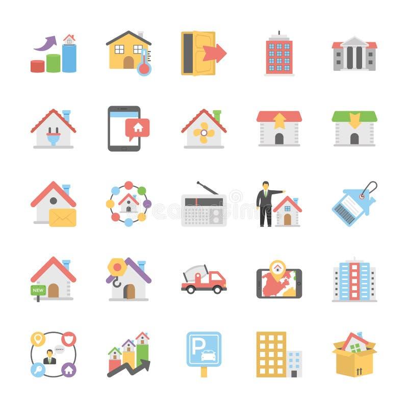 Symboler för Real Estate lägenhetvektor vektor illustrationer