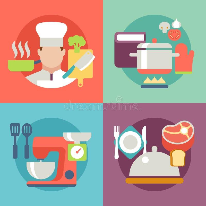 Symboler för recept för läcker mat för matlagningprocess bästa vektor illustrationer