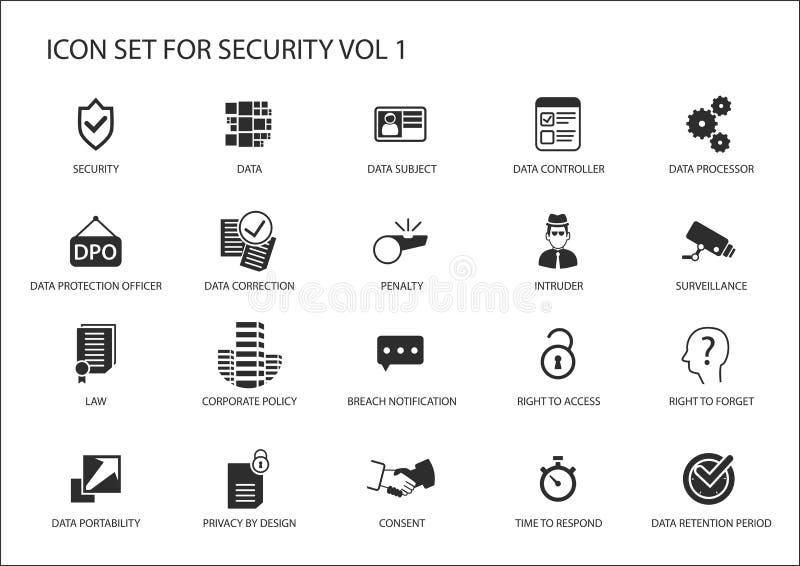 Symboler för reglering för datasäkerhet och för skydd för allmänna data royaltyfri illustrationer