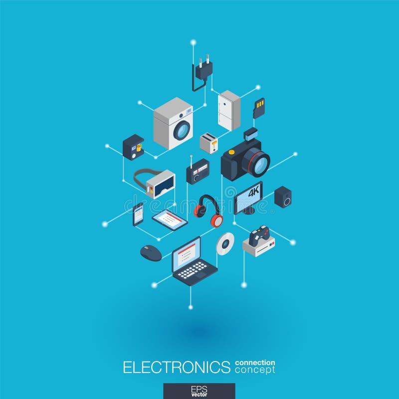 Symboler för rengöringsduk 3d för elektronik inbyggda Isometriskt begrepp för Digitalt nätverk vektor illustrationer